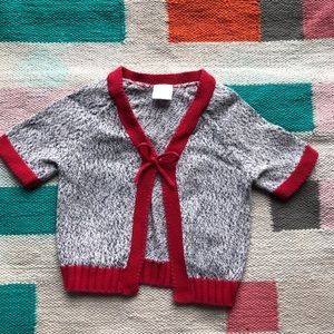 Hanna Andersson cardigan marled gray & red sz 85